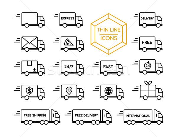 Stockfoto: Vrachtwagen · scheepvaart · dienst · dun · lijn