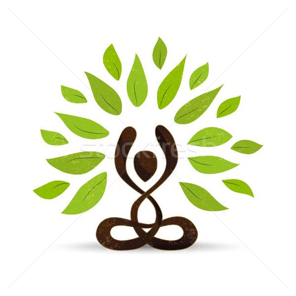 Green yoga lotus pose concept abstract art Stock photo © cienpies