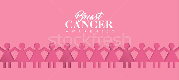 Breast Cancer Care paper cutout girl group banner Stock photo © cienpies