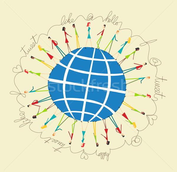 Global sosyal medya insanlar ağ bağlantı dünya Stok fotoğraf © cienpies