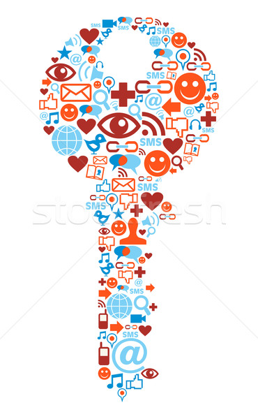 Key symbol with media icons texture Stock photo © cienpies