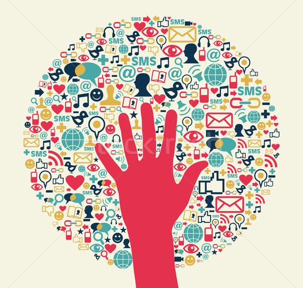 Social media netwerk business succes cirkel hand Stockfoto © cienpies