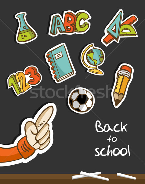 Back to School icons and hand on blackboard Stock photo © cienpies