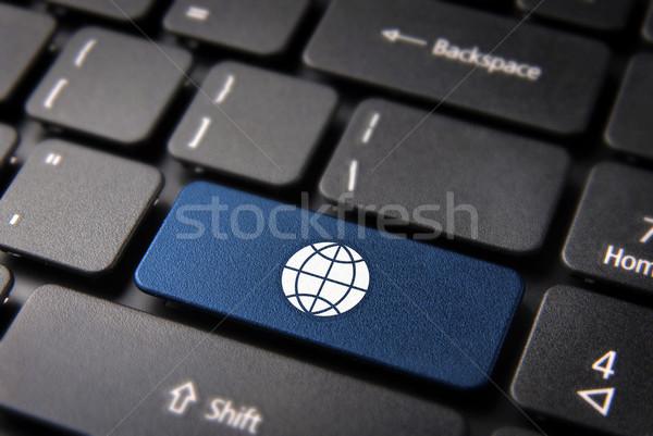 Internet globális üzlet billentyűzet kulcs kék világtérkép Stock fotó © cienpies