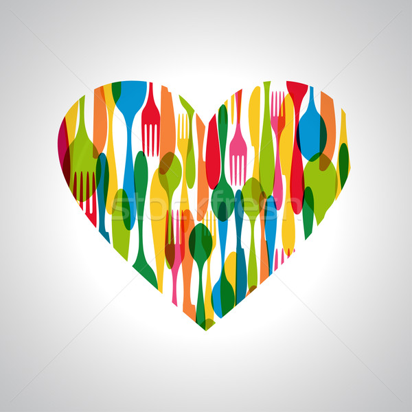 Cutlery heart shape illustration Stock photo © cienpies