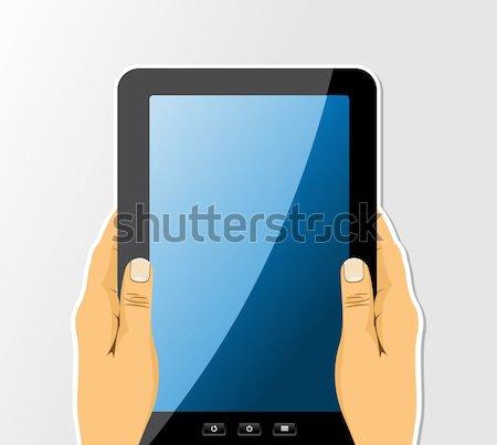 手 タブレット 図面 セット トレンディー ストックフォト © cienpies