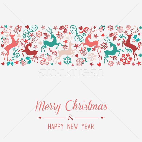 веселый Рождества с Новым годом баннер eps10 Сток-фото © cienpies