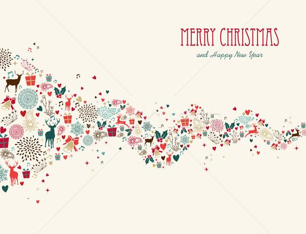 Foto d'archivio: Allegro · Natale · onda · biglietto · d'auguri · buon · anno · colorato