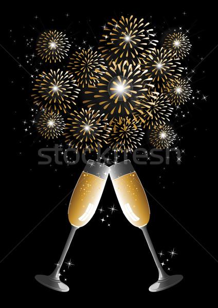 ストックフォト: 明けましておめでとうございます · 2014 · シャンパン · 花火 · グリーティングカード · 休日