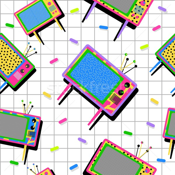 Retro vintage 80s tv seamless pattern background Stock photo © cienpies