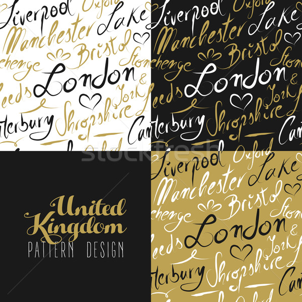 Travel uk london seamless pattern gold city text  Stock photo © cienpies