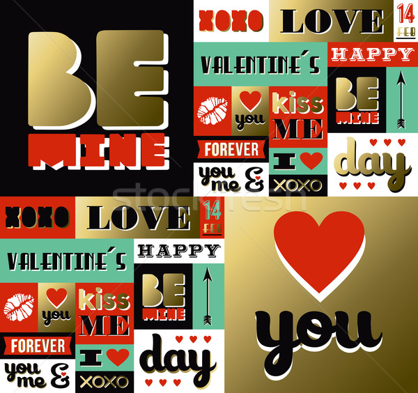 Valentines day retro gold pattern label quote Stock photo © cienpies