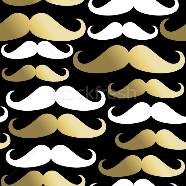 Hipster seamless pattern mustache man gold icon Stock photo © cienpies