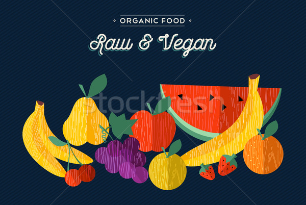 Organic fruits vegan food concept illustration Stock photo © cienpies