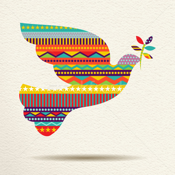 Christmas peace dove art design in fun colors Stock photo © cienpies