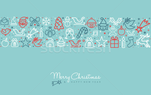 Christmas wakacje line sztuki ikona kartkę z życzeniami Zdjęcia stock © cienpies