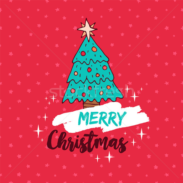 Alegre natal vermelho férias pinheiro desenho animado Foto stock © cienpies