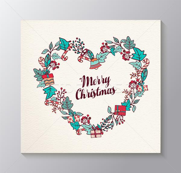 Photo stock: Joyeux · Noël · amour · couronne · carte · de · vœux