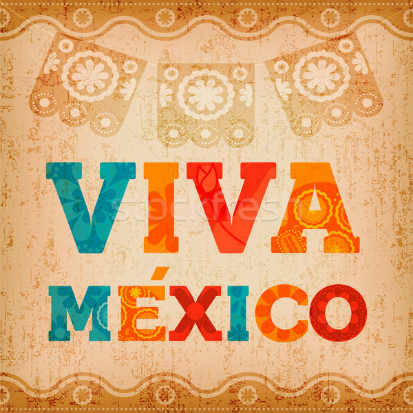 Viva mexico quote greeting card for holiday event Stock photo © cienpies