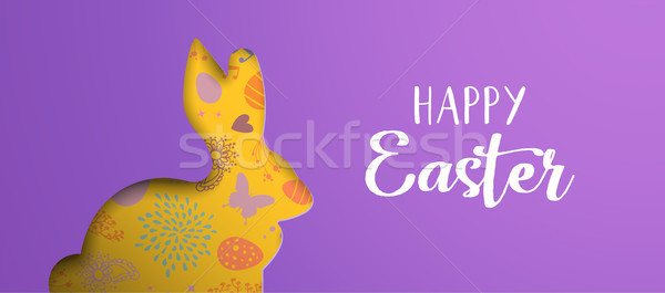 Stock photo: Happy Easter holiday banner with paper art bunny
