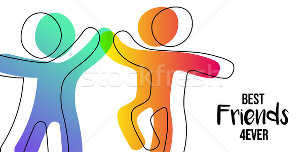 Friendship Day web banner of friends high five Stock photo © cienpies