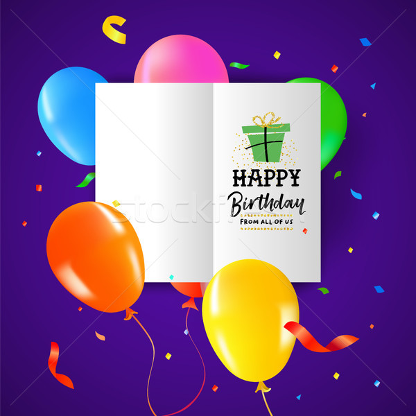Birthday party balloon paper greeting card design Stock photo © cienpies