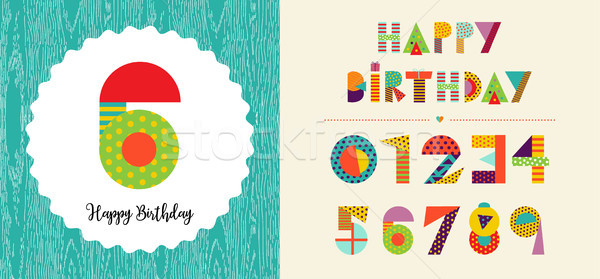 Happy birthday age number card template set Stock photo © cienpies