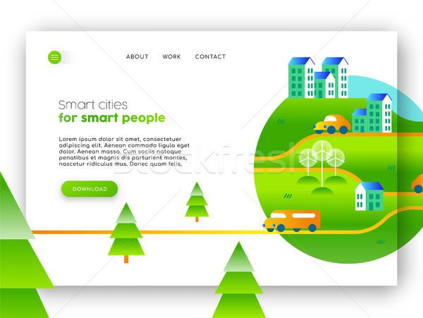 Zöld város környezetbarát háló leszállás oldal Stock fotó © cienpies