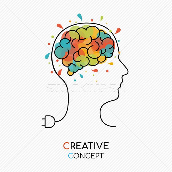Foto stock: Criador · arte · idéia · cérebro · humano · pensamento · criativo