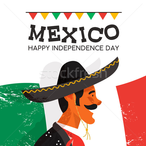 Mexico Independence Day card of mariachi man Stock photo © cienpies