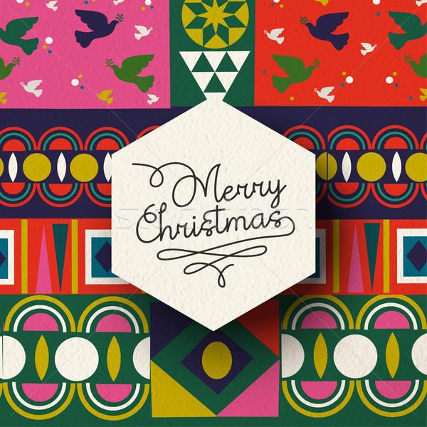 Christmas vintage folk holiday background card  Stock photo © cienpies