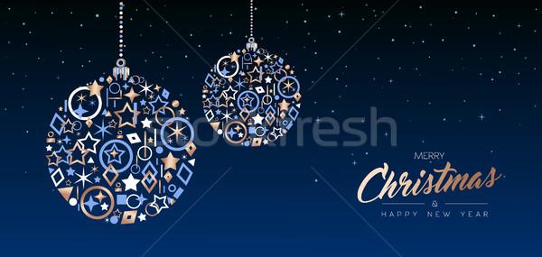 Navidad año nuevo cobre pelota web banner Foto stock © cienpies