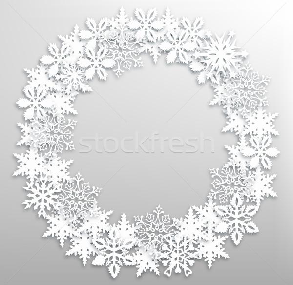 Christmas snowflakes wreath Stock photo © cienpies