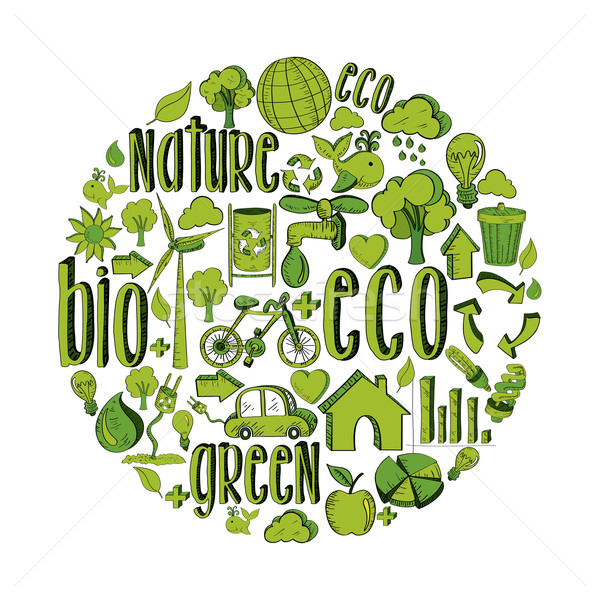 Green circle with environmental icons Stock photo © cienpies