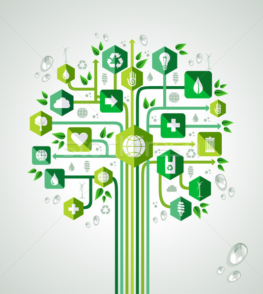 Green resources technology tree Stock photo © cienpies