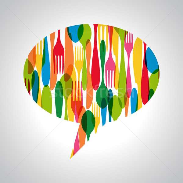 Cutlery speech bubble illustration Stock photo © cienpies