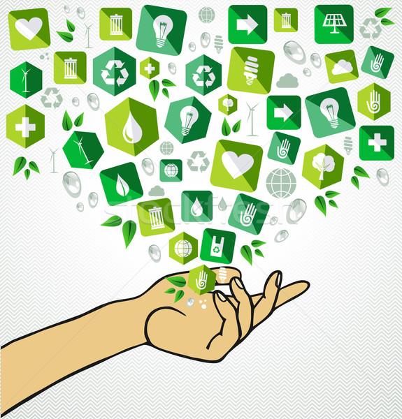 Green life human hand recycle flat icons Stock photo © cienpies