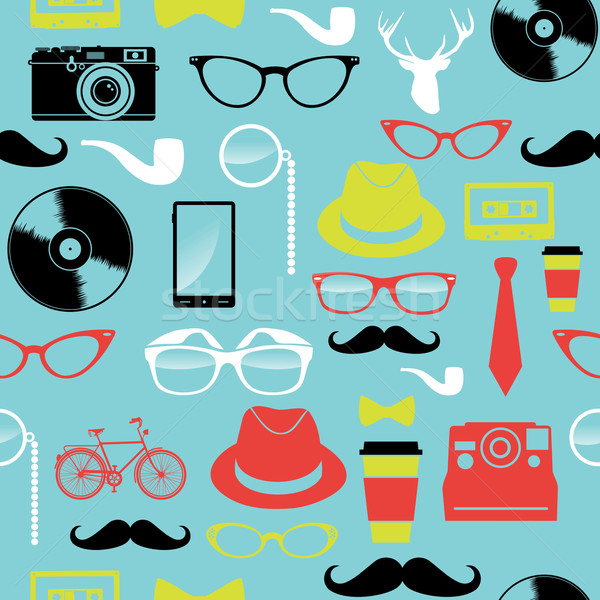 Colorful retro hipsters icons seamless pattern. Stock photo © cienpies