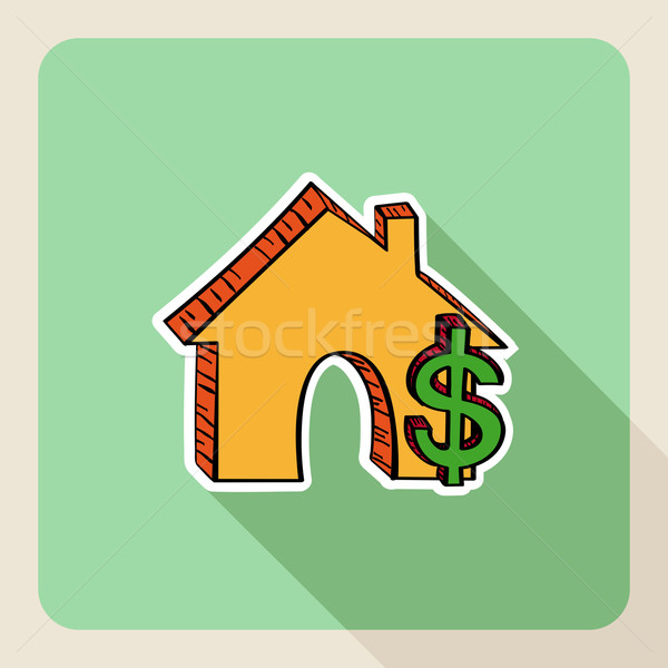 Hand drawn real estate house money symbols. Stock photo © cienpies