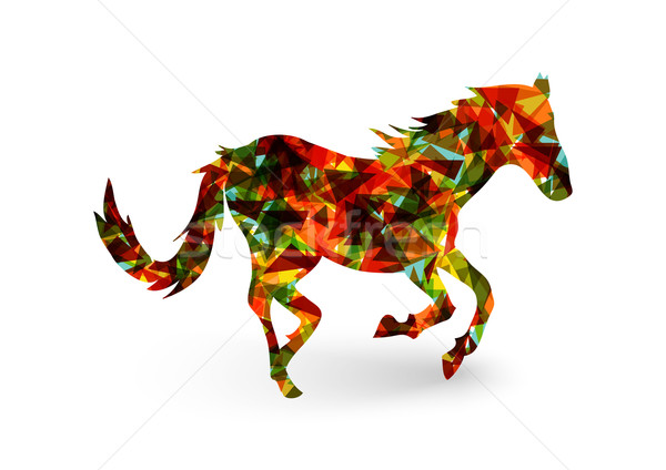 Chinese new year of the Horse abstract triangle EPS10 file. Stock photo © cienpies