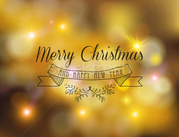 陽気な クリスマス ラベル 飾り 金 ストックフォト © cienpies
