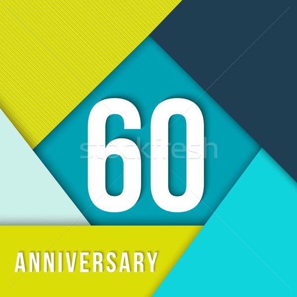60 year anniversary material design template Stock photo © cienpies