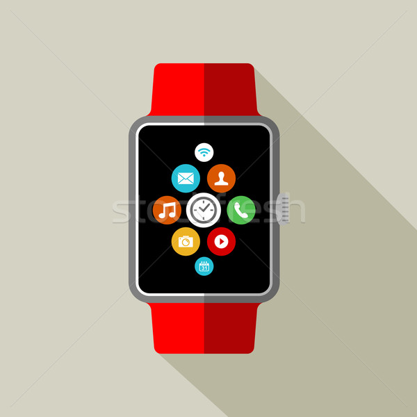 Smart watch illustration in 2d style with app icon Stock photo © cienpies
