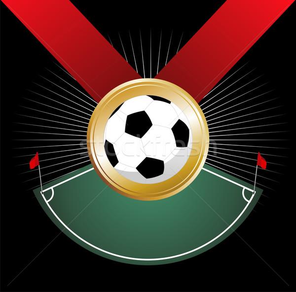 Campeonato medalla esquina balón de fútbol bandera equipo Foto stock © cienpies