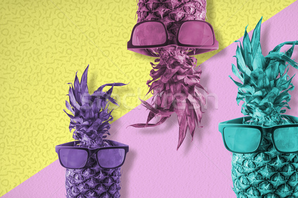Pineapple fruit with sunglasses color summer art Stock photo © cienpies