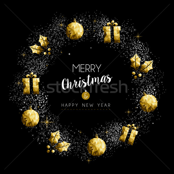 Christmas and New Year gold holiday wreath Stock photo © cienpies