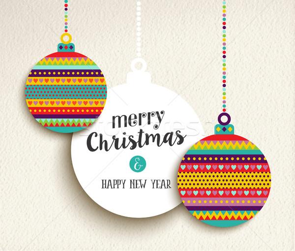Christmas nowy rok zabawy kolor projektu cacko Zdjęcia stock © cienpies