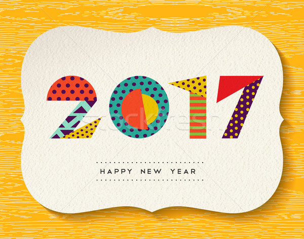 Stock photo: Happy New Year 2017 color abstract greeting card