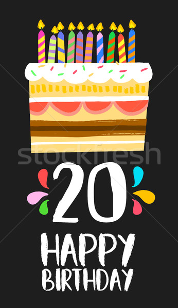 Happy Birthday cake card 20 twenty year party Stock photo © cienpies