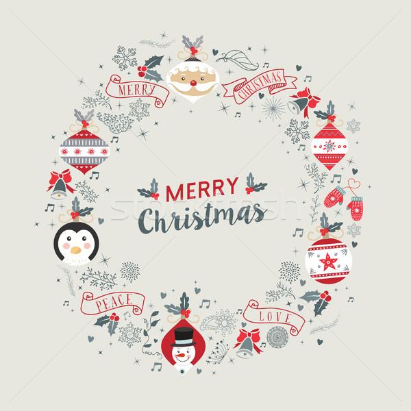Photo stock: Joyeux · Noël · vintage · couronne · cadre · décoration